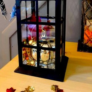 Fall themed indoor /outdoor pre lit lanterns.